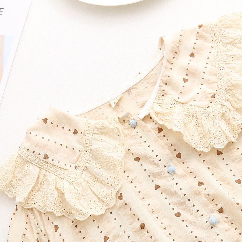 Sweet Heart Print Lace Peter Pan Collar Shirt Blouse 2019 Summer New Mori Girl
