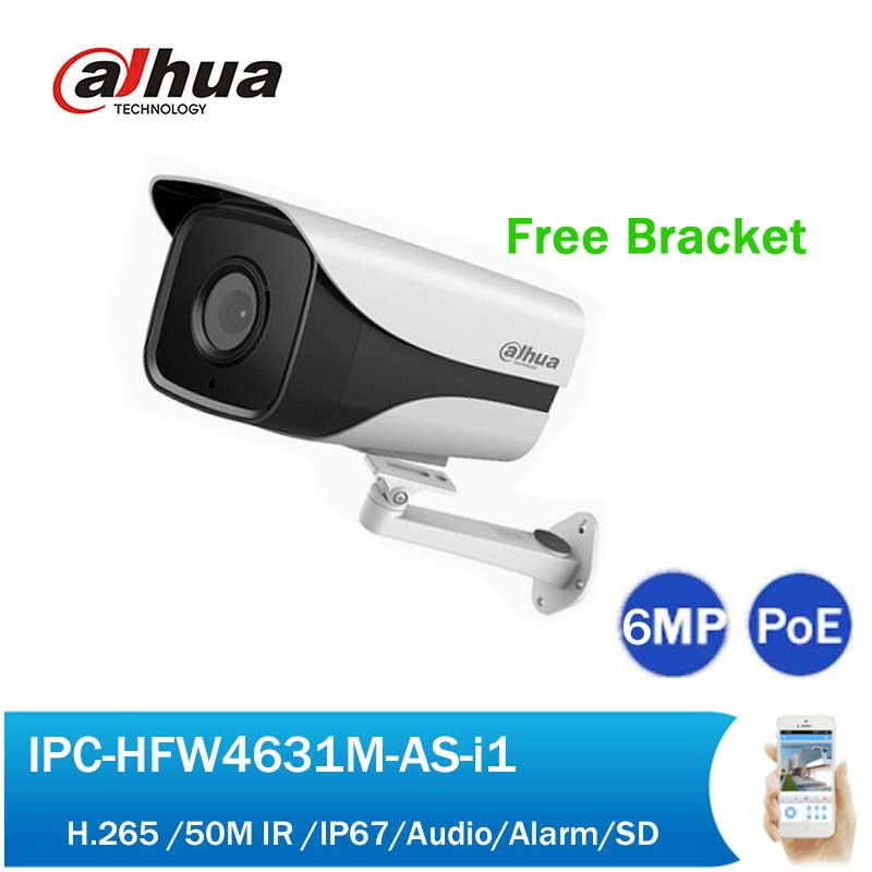 Dahua IPC-HFW4631M-AS-I1 6MP PoE Network Camera Wide angle Security CCTV 50M IR Bullet IP Camera with Audio Alarm free bracket free shipping dahua cctv camera 4k 8mp wdr ir mini bullet network camera ip67 with poe without logo ipc hfw4831e se