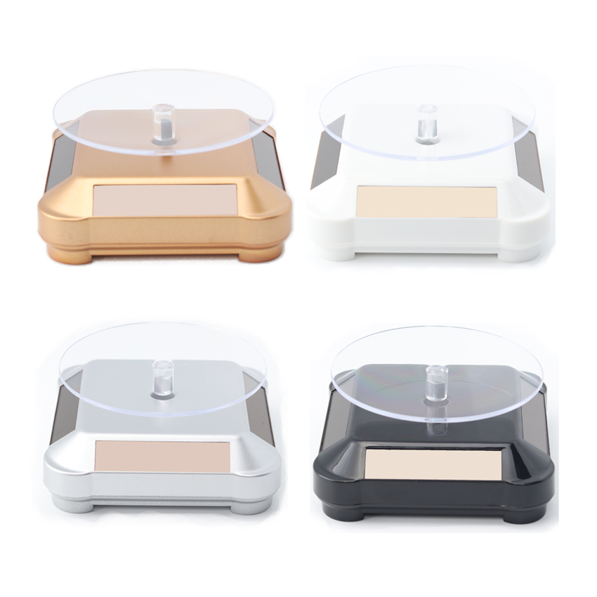 Solar Showcase 360 Turntable Rotating Jewelry Watch Ring Phone Stand Display Jewelry Organizer Hard Display Stand 4 Colors