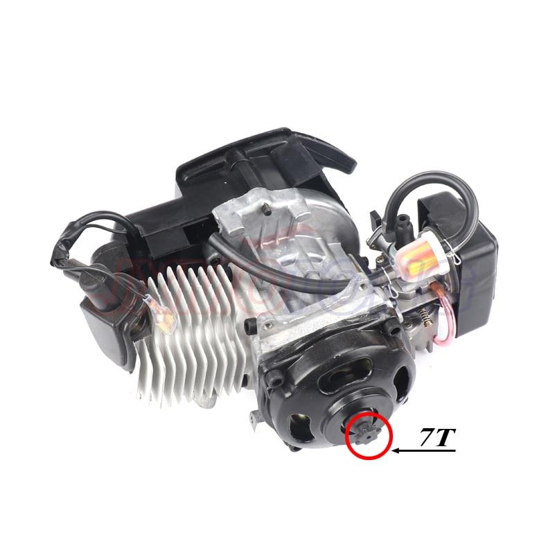 7 歯 47cc 49cc 2 ストロークプルスタートエンジン & グリップケーブル & チェーンセットキット 2 ストロークミニモーターダートバイク ATV ポケット  グループ上の 自動車 &バイク からの エンジン の中 2