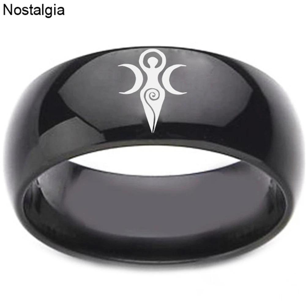 Black Tourmaline Triple Goddess Statement Ring Wire Wrapped with Sterling Silver Titanium Aura Quartz Moon Goddess Jewelry Moon Goddess