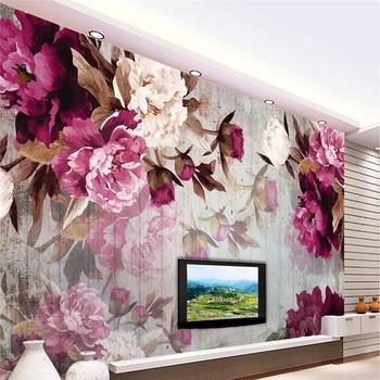 beibehang  Custom Photo Wallpaper Wall Sticker Handmade Peony Flower Wooden Background papel de parede 3d para sala atacado