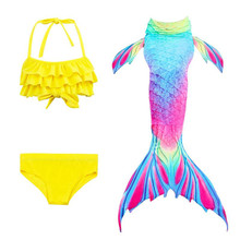 23 Colors 3PCS Baby Girl Children Swimming Mermaid Tail Costume Swimsuit Swimwear Swimmable Bikini Set