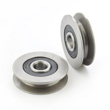 12*50*13mm 6301RS bearing steel bearings, U grooves V round bottom 5cm pulley, 6mm guide wheel, wire rope lifting wheel(China)