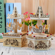 Student Gift Music Box Home Decorations Carousel Music Boxs Wood Crafts Gift Ornaments