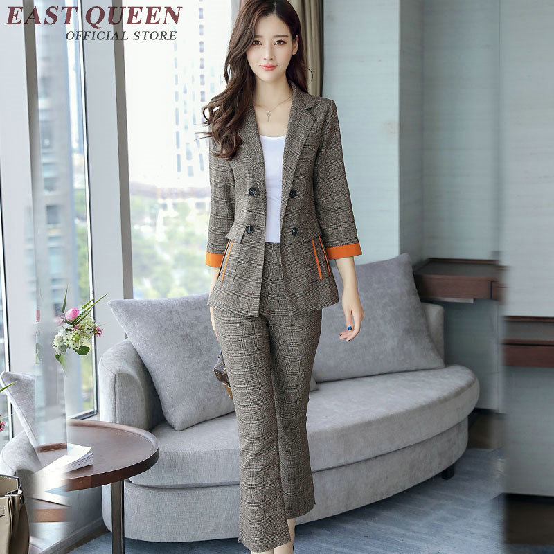Womens business suits Formal Work Wear Office Uniform Styles Elegant Pants Ladies Trouser Suit 2 Piece sets NN0970 C