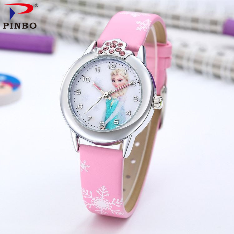 PINBO Cartoon Watch Princess Elsa Anna Watches Fashion Girl Student Cute Leather Sports Analog Wrist Watches relogio feminino cartoon children watches fashion girl bear pattern kids waterproof watch cute student leather strap wrist watch relogio