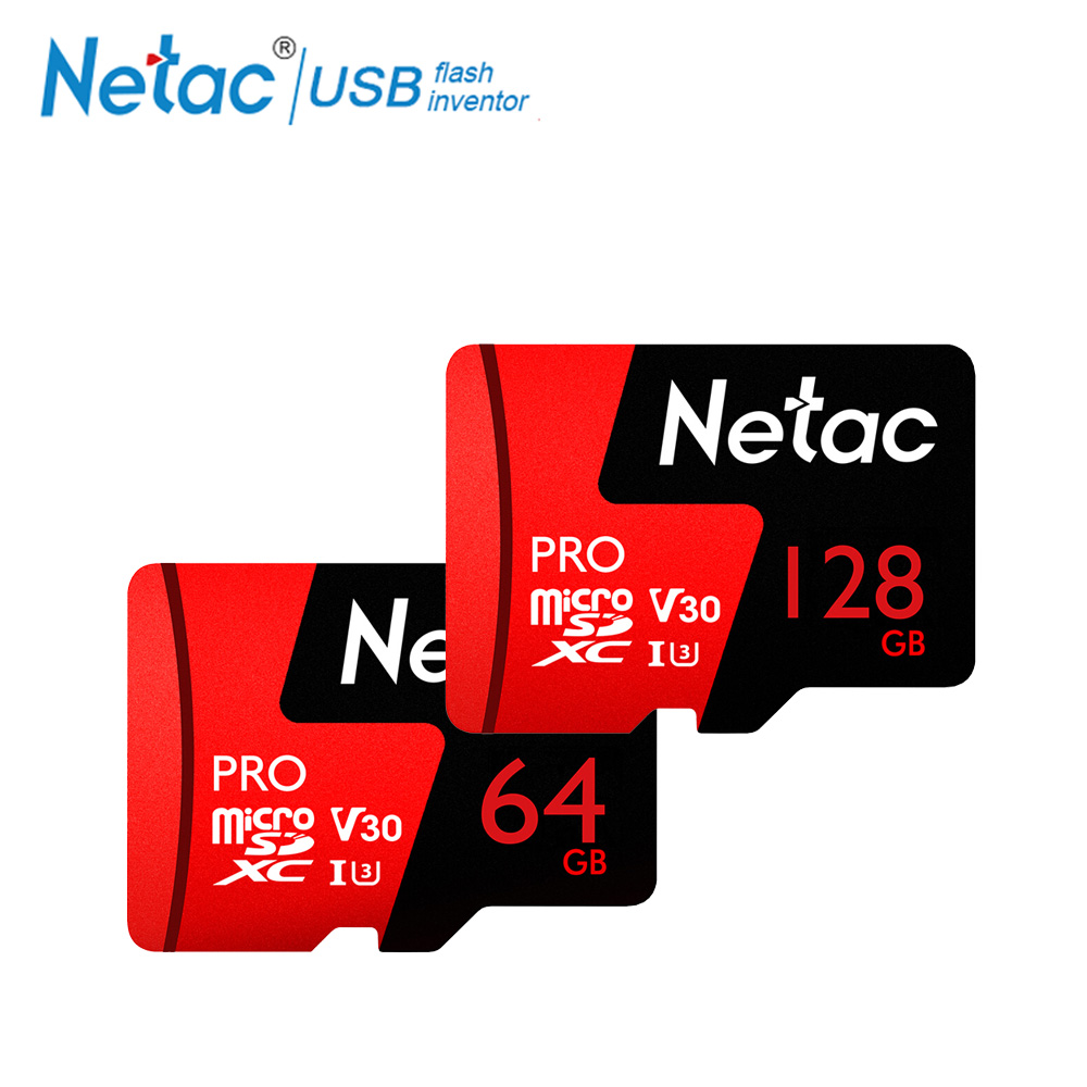 Netac P500 Pro 64 GB tarjeta Micro SD de 128 GB TF tarjeta U3 V30 computadora tarjeta de vídeo de hasta 100 MB/S tarjeta de memoria del teléfono para el teléfono inteligente de Drone