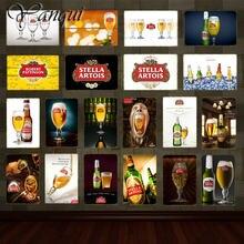 Retro vinho cerveja marca stella artois cerveja estanho sinal de metal cartaz do vintage placa arte da parede pintura etiqueta pub bar decoração casa yq095