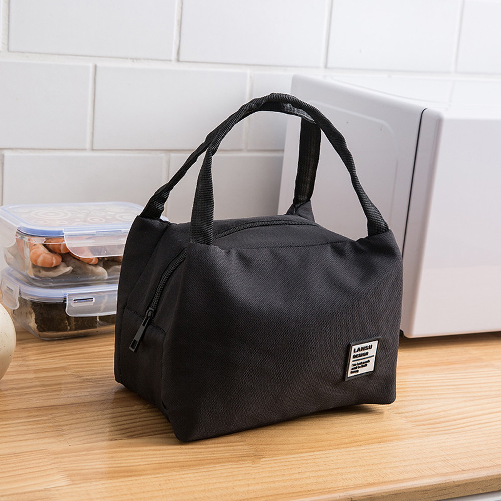 Food Bags Women Kids Men Insulated Canvas Box Tote Bag Black White Portable Outdoor Camping Picnic Cooler Food Lunch Bags