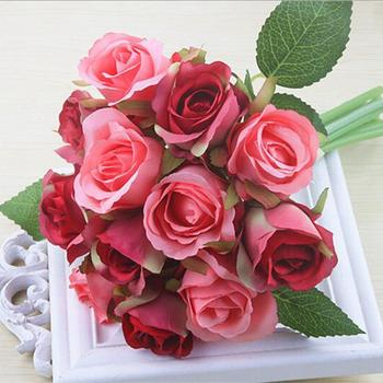 TFBC-12pcslots Artificial Rose Flowers Wedding bouquet White Pink Thai Royal Rose Silk flowers Home Decoration Wedding Party rose