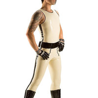 2015 New Fashion Sexy Fetish White Sleeveless Latex Catsuit For Men Web Look Rubber Tight Clothing