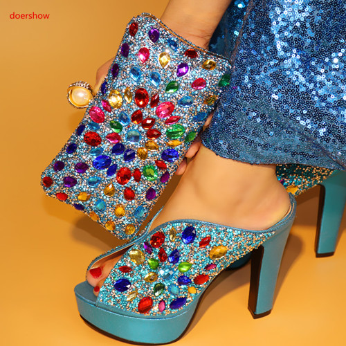 doershow Ladies Italian sky blue Shoes and Bag Set Decorated with Rhinestone Sales In Women Matching Shoes and Bag Set PAA1-3 italian visual phrase book