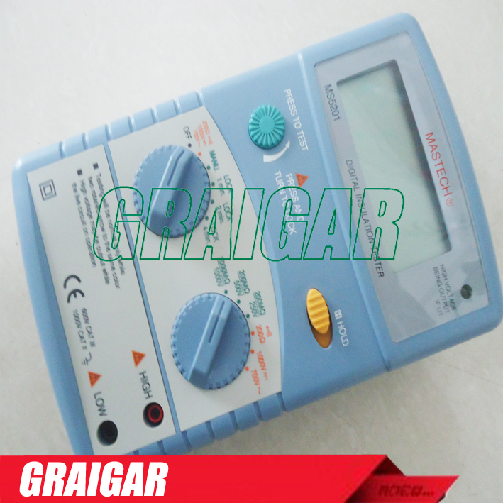 new MS5201 Digital megger , Insulation resistance tester , Sound and light alarm mastech ms5201 digital insulation resistance tester megger megometro mega ohm sound and light alarm genuine
