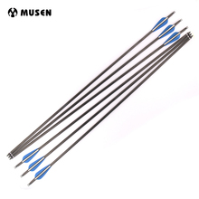6/12/24pcs Carbon Arrow Spine 360 Length 30 inches OD 7.6mm with Remove Arrowheads for Outdoor Archery Hunting Shooting