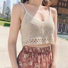 купить 2019 New Women Crop Top Summer Beach Casual Solid Color V Neck Camis Vest Sexy Strap Backless Crochet Knit Tank Tops Female онлайн