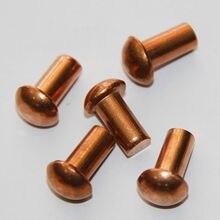 M5 полукруглый Кепки головы Медь Заклёпки твердая латунь заклепки 5 мм Диаметр M5 x 6 мм(20 штук