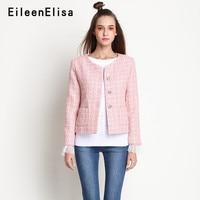 Розовая куртка женская с длинным рукавом винтажная твидовая Высококачественная куртка 2018