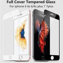 AGREAL Полное Покрытие Белый и Черный Премиум Закаленное Стекло для iPhone 7 5 5S 5C se 6 6 S 7 Плюс Стекло Защитная крышка фильм