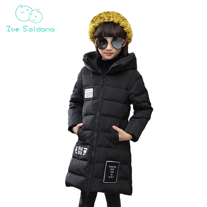 Zoe Saldana Girl's Coat 2017 New Fashion Winter Kids Hooded Letter Printed Girls Warm Outerwear Girl White Duck Down Long Coats zoe saldana girl s coat 2017 new fashion winter solid hooded long white duck down casual kids warm detachable fur collar coats