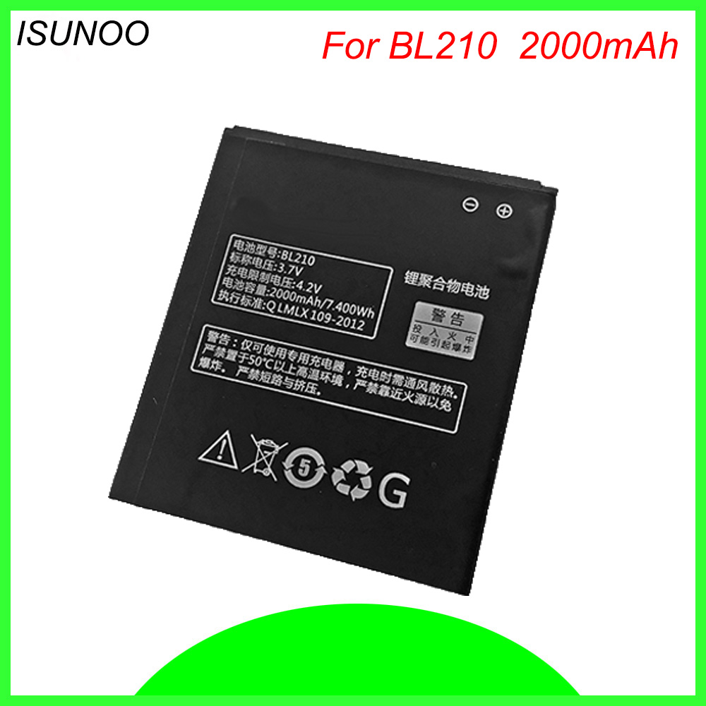 ISUNOO BL 210 BL210 BL-210 <font><b>Battery</b></font> Replacement For <font><b>Lenovo</b></font> A536 A606 S820 S820E A750E A770E A658T <font><b>S650</b></font> A656 A766 Mobile <font><b>Battery</b></font> image