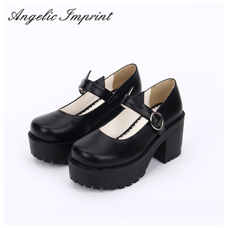 The Cat Ear Thick Platform Black Mary Jane Shoes School Girl Punk Lolita Cosplay Pumps Shoes