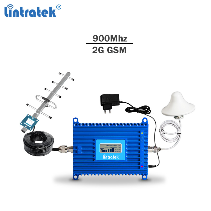 Répéteur de signal cellulaire Lintratek gsm 900 Mhz reeapter de signal cellulaire 3g/2g 900 amplificateur de signal de téléphone portable gsm umts 70dBi agc kit complet #7.1