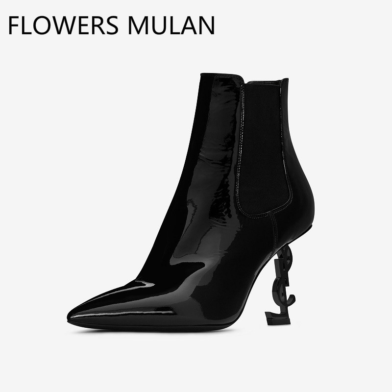 Metal Heels 85mm Pointed Toe Genuine Leather Ankle Boots Women Black Lace Up High Heels Shoes Super Famous Brand Ladies Botas