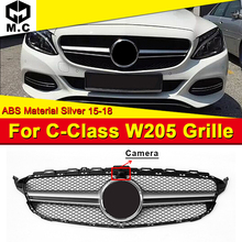 W205 Grills Grill ABS Silver With Camera Fits For MercedesMB C-Class Sports C180 C200 C250 Front Mesh Without Sign 2015-18