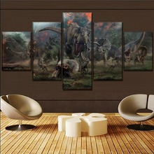 Jurassic World Movie Home Decor Living Room Modern Picture 5 Pieces Paintings Canvas Wall Art