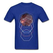 Blue Faddish Men T Shirt Geometric Space Flight Autopilot Casual Tops 100% Cotton Short Sleeve 3XL Fashion T-Shirts Tee
