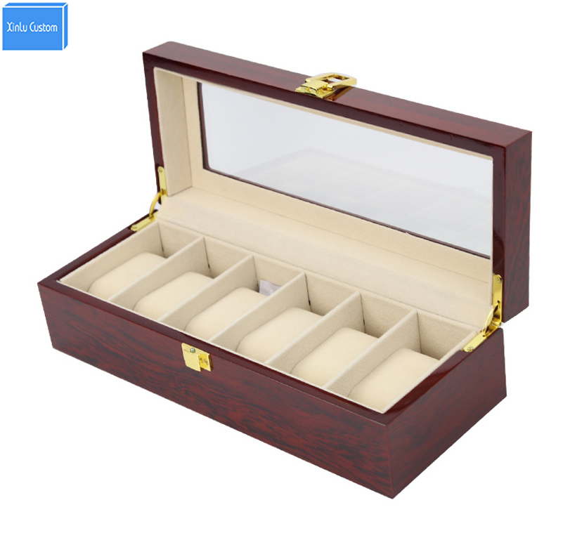 Luxury High Grade Elegant 6 Slot Glossy Lacquer Wood Display Box Watches Collection Case Box Holds Caixa Para Relo Drop Shipping watchcase storage luxury 22 slots 2 layer wood glossy lacquer watch box jewelry collection display drop shipping supply