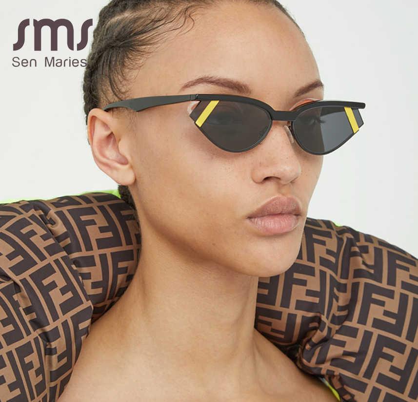 Moda Mujeres Gafas de Sol pequeño Ojo De Gato Gafas De Sol Tira de medio marco marca de lujo