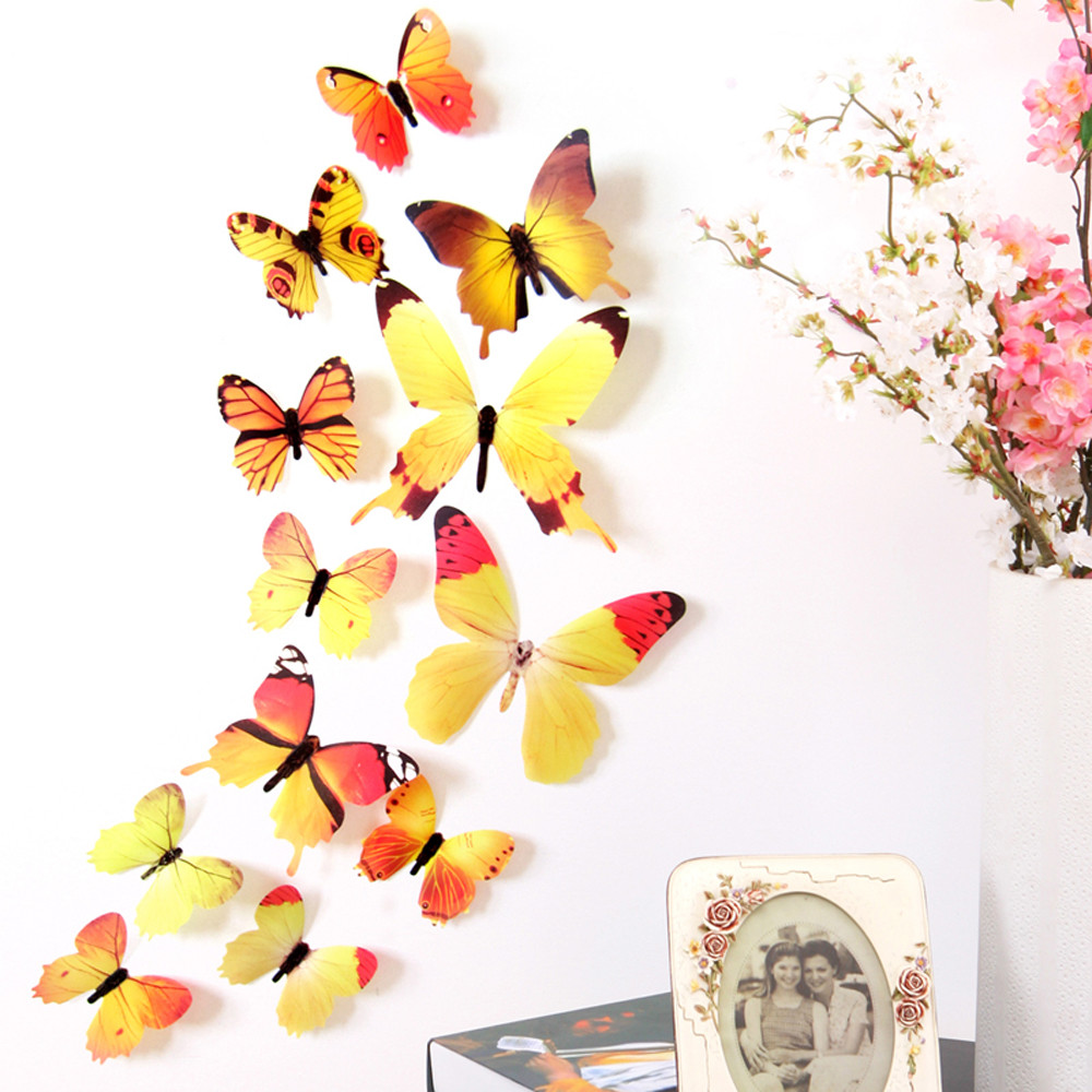 12pcs 3D Cute Butterfly Rainbow Wall Stickers Colorful Decal ...