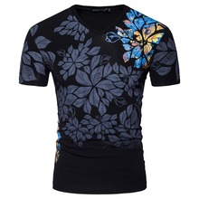 Men Short Sleeve V Neck Designer Chinese Painting Leaf Casual T Shirt Fashion White Black Slim Cotton T Shirt S-XXL D069