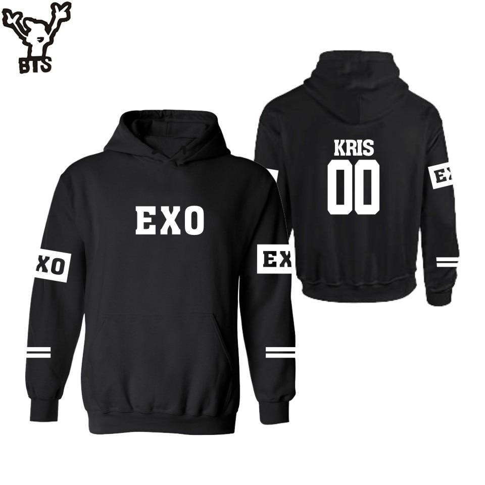 BTS EXO Kpop Hooded Sweatshirt Men Hoodie Autumn Winter Womens Hoodies Pullover With Hood Black Plus Size XXS 4XL Hip Hop
