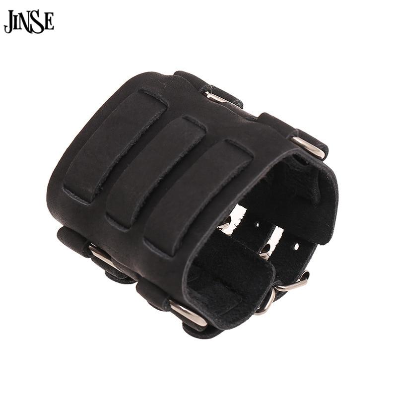 JINSE 2017 Handmade Genuine Men Leather Bracelets Fashion Punk Wide Cuff Bracelets & Bangle For Men Jewelry Accessor HQ172