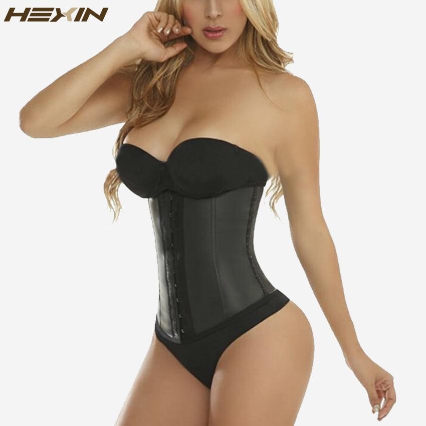 fbb3ea9965b6b HEXIN 9 Steel Bones 100% Latex Waist Trainer Corset Sexy Women Body Shaper  Waist Cincher Underbust Shapewear Slimming Belt 6XL - Shop Underwears