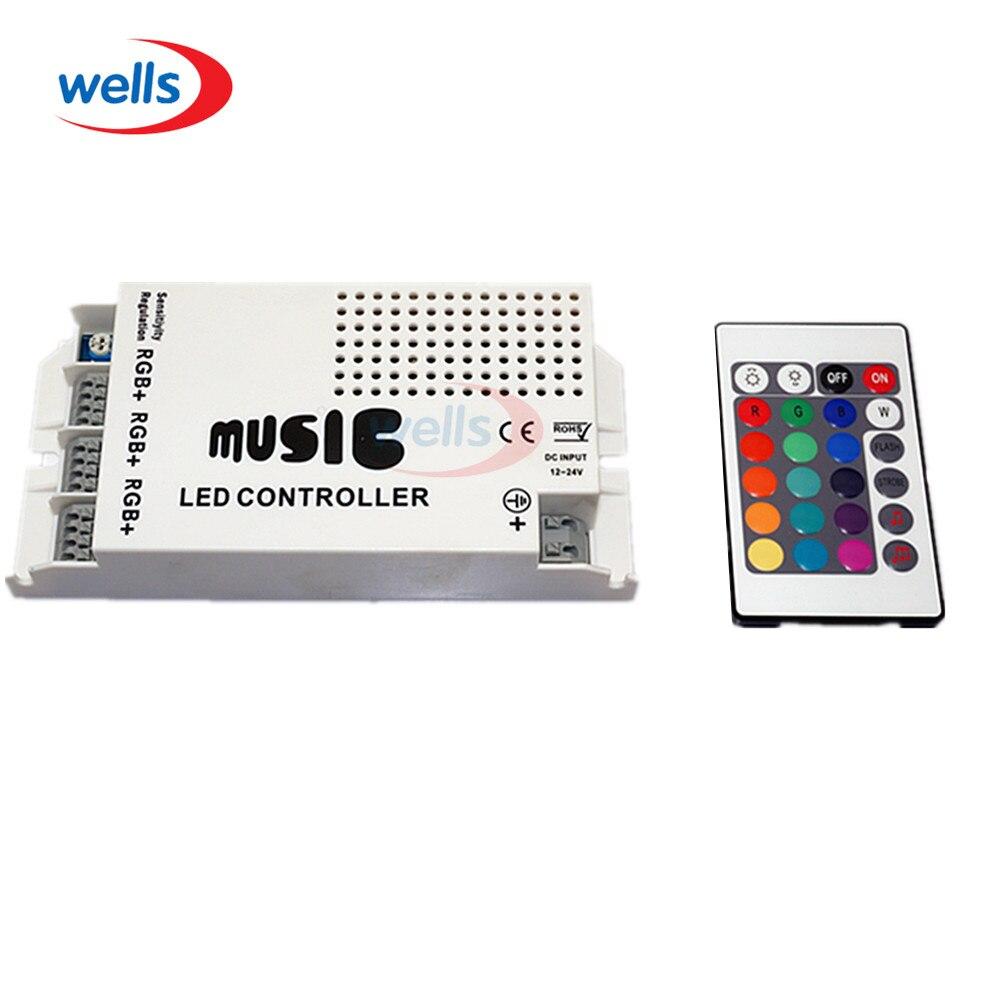 Controlador LED de sonido musical DC12-24V con 3 canales 9A 24key IR Control remoto para 5630 3528 5050 RGB tira de luz LED