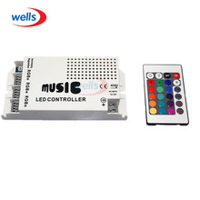 DC12-24V Music Sound LED Controller with 3 Channels 9A 24key IR Remote Control for 5050 3528 5630 RGB Strip Light