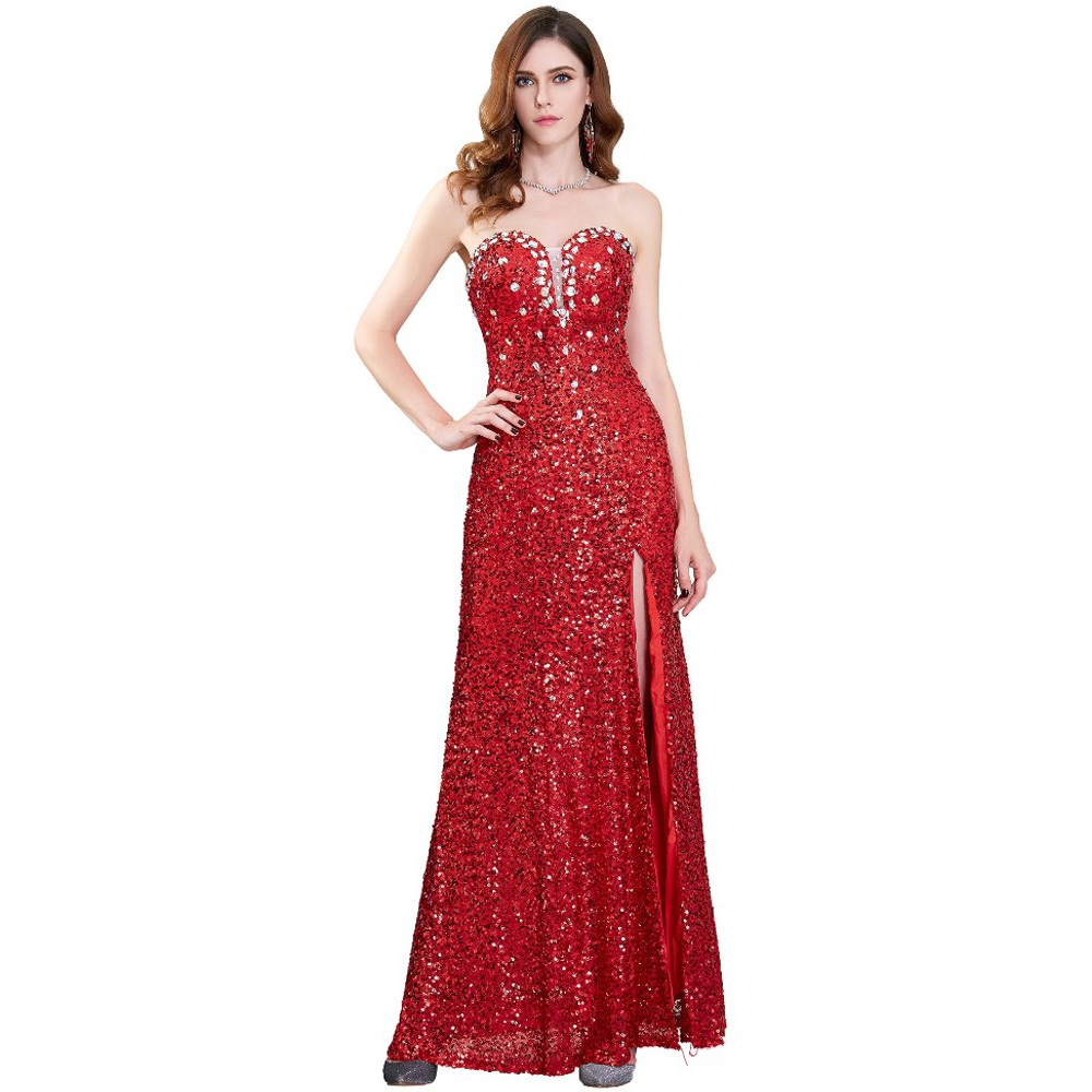 Long Red Sequin Dress Strapless Promotion-Shop for Promotional ...
