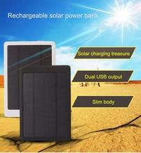 цены Solar Power bank 8000mAh Portable black/white Solar Charger powerbank 8000 mah Dual USB External Battery Power Bank