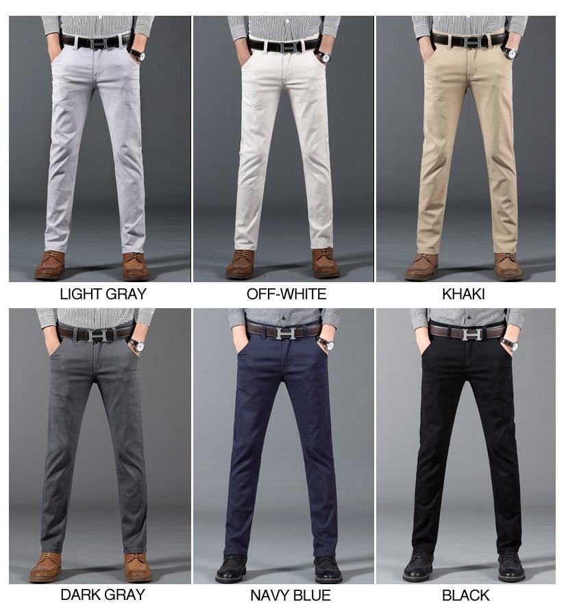 HTB1RrU3aEjrK1RkHFNRq6ySvpXau 6 Color Casual Pants Men 2019 Spring New Business Fashion Casual Elastic Straigh Trousers Male Brand Gray White Khaki Navy