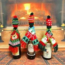 10 unids Cubierta de la Botella de Vino Decoración De La Navidad Sombrero + Bufanda ciervos