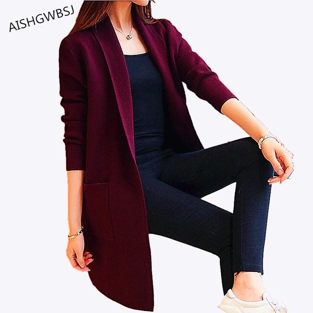 Aishgwbsj Новинка 2017 года Демисезонный вязаный свитер кардиган Для женщин зимняя куртка свободные большой ярдов Джокер длинные свитера пальто QYX146