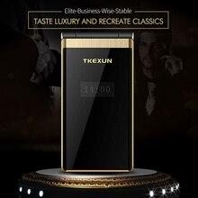 """TKEXUN флип сенсорный экран 3,"""" дисплей телефон скорость DialSOS металлический корпус не умный мобильный телефон"""