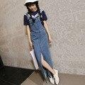Novo 2016 Coreano Moda Dividir Sólidos Denim Jeans Jumpsuits Suspensórios Verão Macacão Saia Longa Macacão Mulheres