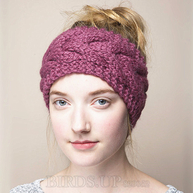 c02426a6f35 Wool Knitted Turban Headbands For Women Winter Warm Crochet Headband Head  Wrap Wide Ear Warmer Hairband Girls Hair Accessories