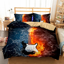 HELENGILI 3D Bedding Set Guitar Print Duvet Cover Set Lifelike Bedclothes with Pillowcase Bed Set Home Textiles #JT-01