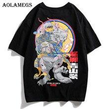 Aolamegs Men T Shirt Japanese Style Printed Men's Tee Shirts O-neck T Shirt Short Sleeve Fashion High Street Tees Streetwear автокресло smart travel first blue 0 1 5 лет 0 13 кг группа 0плюс kres2080